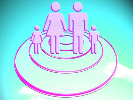 Family on an OVNI on blue sky