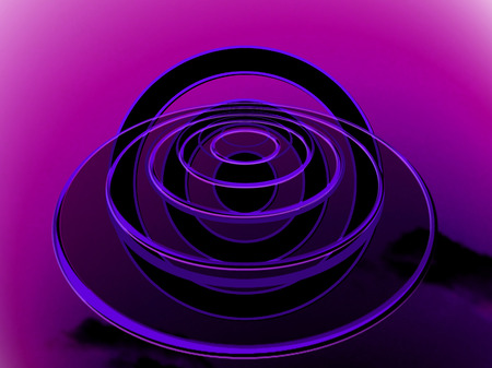 to foresee: Circular OVNI illustration on purple night light background