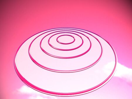 pink sky: Target circles or OVNI on pink sky background