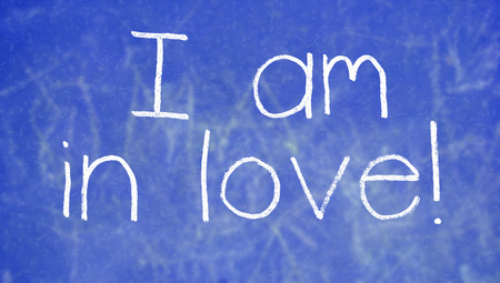 i am: I am in love text of chalk for Valentines day