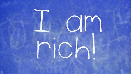 i am: I am rich expression on school class background
