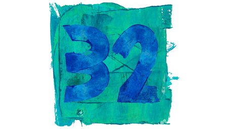 32: Number 32 of blue painting square