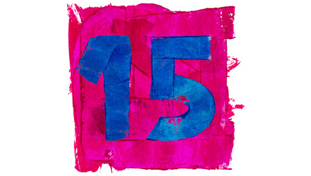 number 15: Number 15 or fifteen on blue color paint on pink square of art calendar