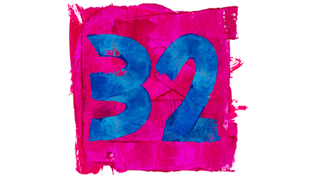32: Artistic number 32 thirty two of pink and blue paint colours