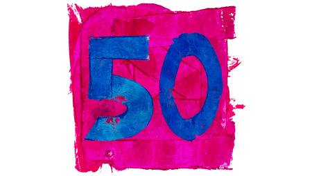 number 50: Number 50 or fifty of blue and pink paint colors