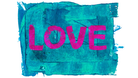 educative: Pink love word on blue background of paint