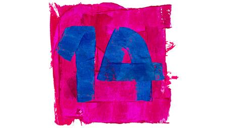 number 14: Number 14 on blue color paint on pink square of art calendar