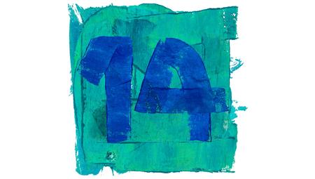fourteen: Number 14 or fourteen on blue color paint square of art calendar