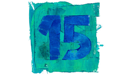 number 15: Number 15 on blue color paint square of art calendar