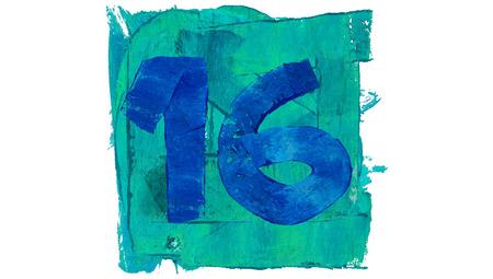 number 16: Number 16 on blue color paint square of art calendar