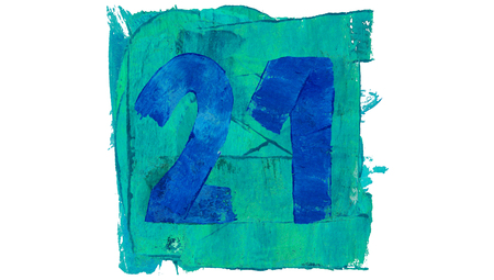 21: Number 21 on blue color paint square of art calendar