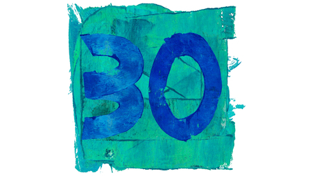 educative: Number 30 on blue color paint square of art calendar