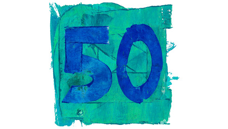 number 50: Number 50 or fifty of blue paint in a square