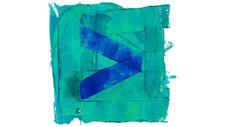 educative: Forward arrow blue paint artistic button square