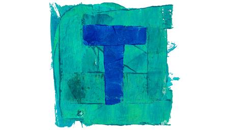 Letter T sign of art alphabet of blue paint colour