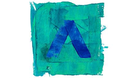 ascending: Ascending arrow button on blue paint square