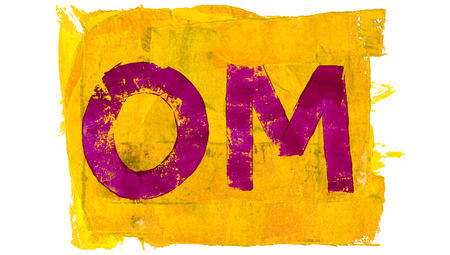 mantra: Purple paint mantra om on yellow background for meditation Stock Photo