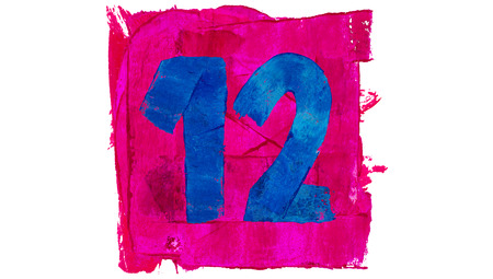 number 12: Number 12 numbers painted in pink and blue paint Stock Photo