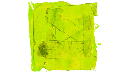 the greenish: Greenish yellow paint color square background isolated on white