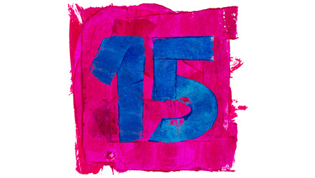 number 15: Number 15 of blue paint in pink square
