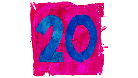 educative: Number 20 on blue in pink square