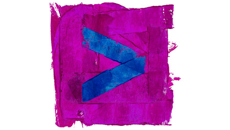 educative: Right arrow of blue paint on purple square Stock Photo