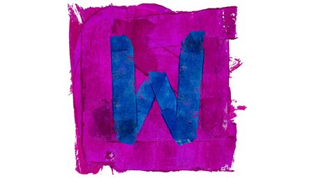 educative: Letter w of blue paint on purple