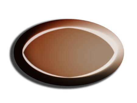 dark chocolate: Oval dark chocolate web button shape on white Stock Photo