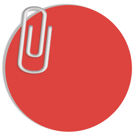 messages: Red circle for messages background with paperclip Stock Photo