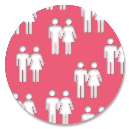 heterosexual: Heterosexual couples shapes on red circular background Stock Photo