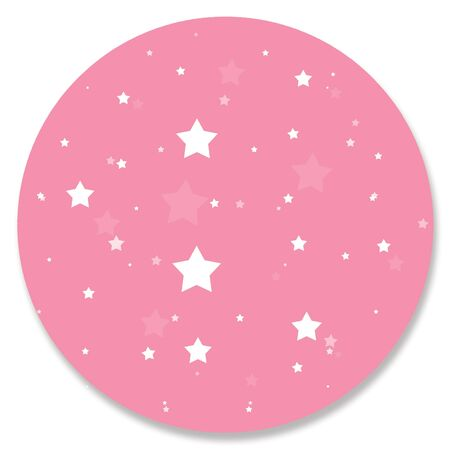 hole in one: Pink circular ornament with little stars