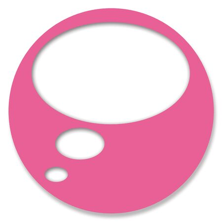 thinking bubble: Pink chat button with thinking bubble Stock Photo