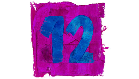 number 12: Number 12 painted with blue on purple Stock Photo