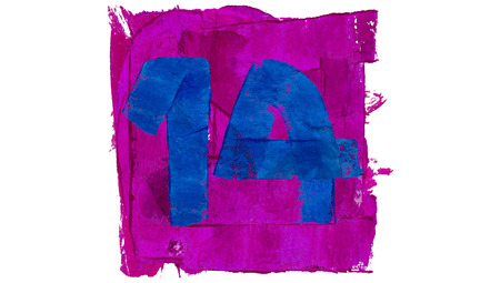 number 14: Number 14 of blue and purple colors Stock Photo