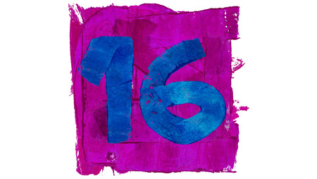 number 16: Number 16 of blue and purple paint colours
