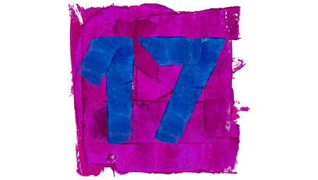 17: Number 17 of colours brushes Stock Photo