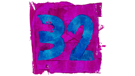 32: Number 32 painted of brushed colors Stock Photo