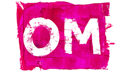mantra: Om mantra painted with brush strokes on pink Stock Photo