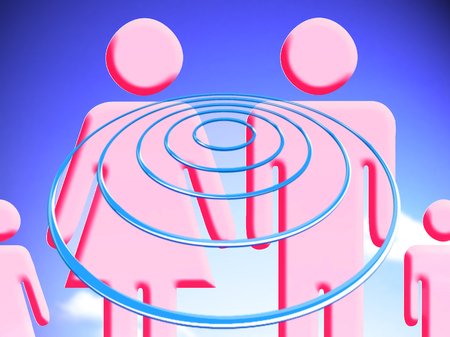 Family projecting goald on target circles