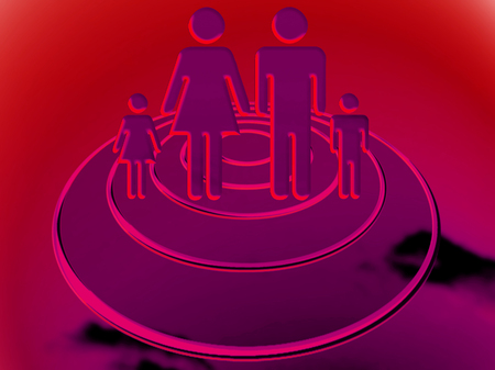 abducted: Family travel on an ovni on red background