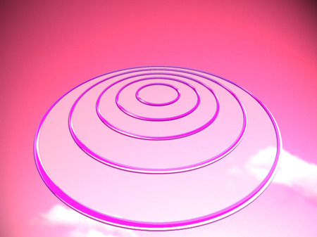 targets: Pink targets base like an ovni on sunset sky background Stock Photo