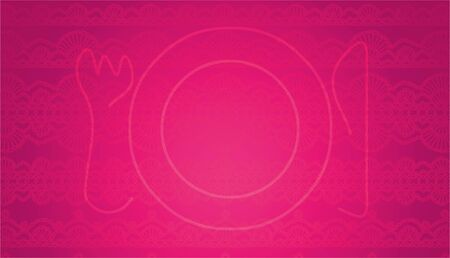 delicated: Intense pink background with a plate Stock Photo