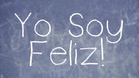 i am: I am happy sentence on spanish class blackboard