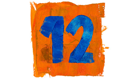 number 12: Number 12 for calendar day of paint blue and orange colors