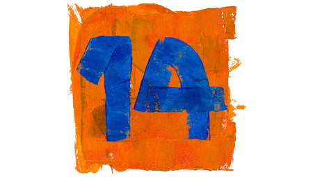 number 14: Number 14 for calendar day of paint blue and orange colors Stock Photo
