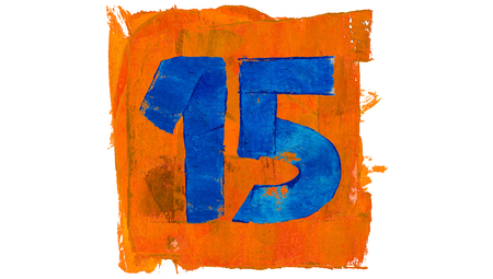number 15: Number 15 for calendar day of paint blue and orange colors