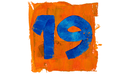 19: Number 19 for calendar day of paint blue and orange colors