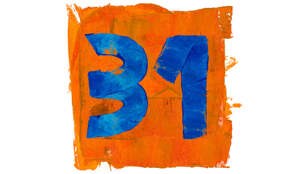 31: Number 31 for calendar day of paint blue and orange colors Stock Photo
