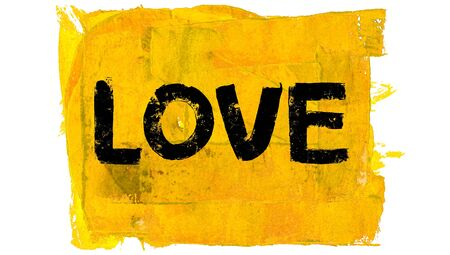 educative: Word love on bright yellow paint background