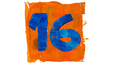 number 16: 16 day number of blue and orange paint colors